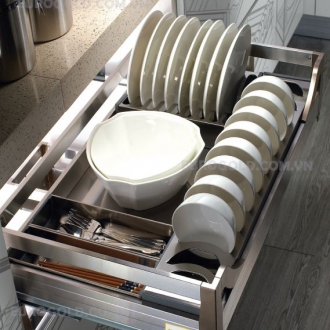Giá bát đĩa hộp âm tủ ray giảm chấn