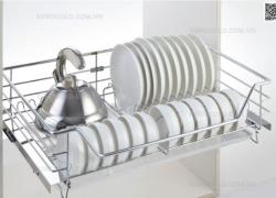 Giá bát đĩa inox nan âm tủ gắn cánh ray giảm chấn