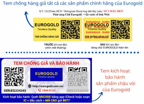 Hướng dẫn kích hoạt bảo hành và phân biệt hàng thật hàng giả của Eurogold