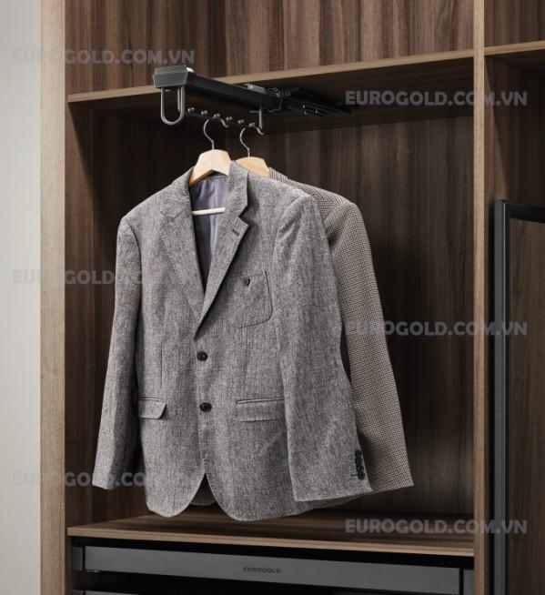 Mắc quần áo 8 nốt ray bi, ray giảm chấn Eurogold màu đen