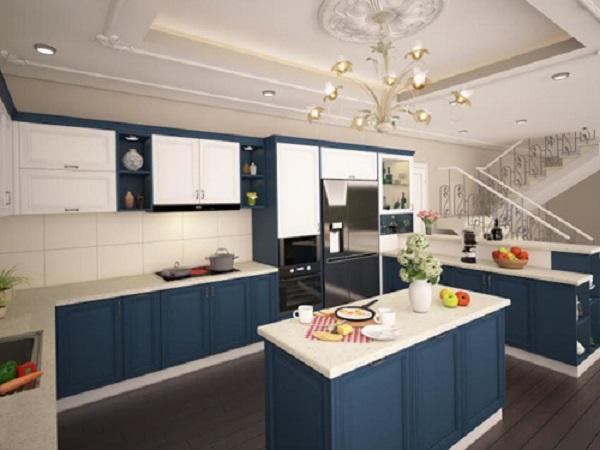Phòng bếp hiện đại với màu xanh coban đột phá