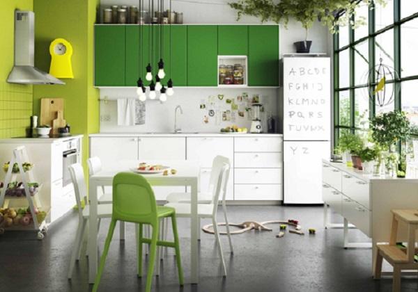 Phòng bếp hiện đại với gam màu xanh trắng trẻ trung phong cách