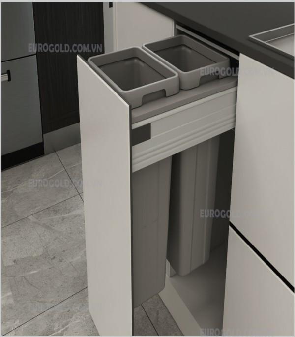 Thùng rác âm tủ ray hộp giảm chấn cao cấp BA400