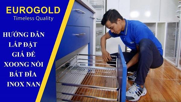 hướng dẫn lắp đặt giá để xoong nồi bát đĩa inox nan Eurogold