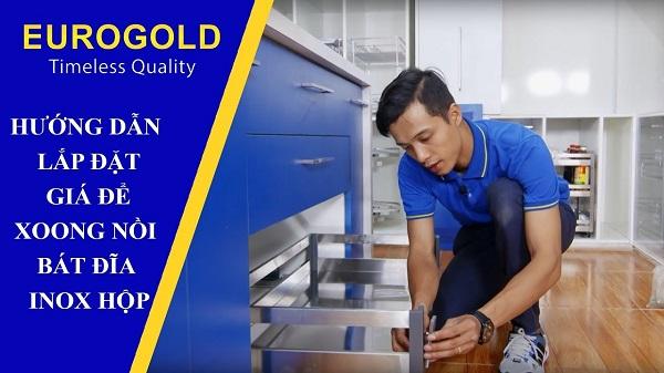 Hướng dẫn lắp đặt giá để xoong nồi bát đĩa inox hộp EU130800 Eurogold