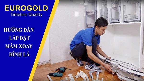 hướng dẫn lắp đặt mâm xoay hình lá eurogold