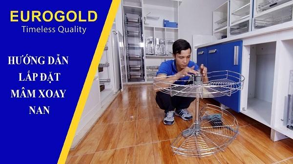 hướng dẫn lắp đặt mâm xoay nan 1/2 Eurogold