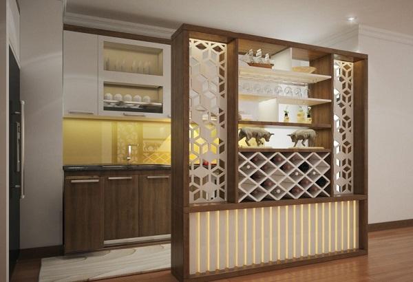 vách ngăn phòng khách và bếp đẹp ấn tượng nhất 2020