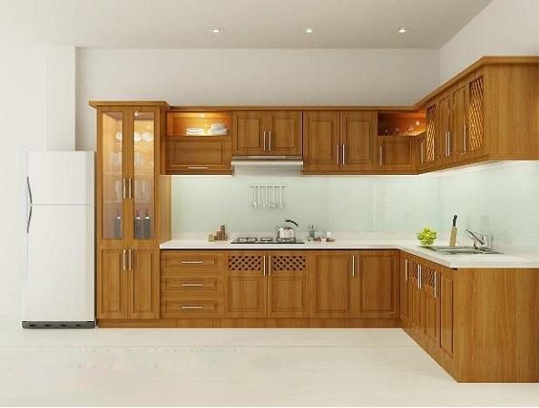 Nên mua tủ bếp bằng chất liệu gì? Tủ bếp gỗ sồi mỹ