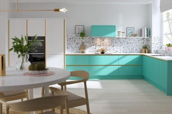 mẫu tủ bếp màu xanh đẹp