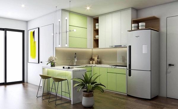 thiết kế tủ bếp dài 2m