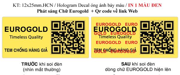 tem vàng chống hàng giả của Eurogold