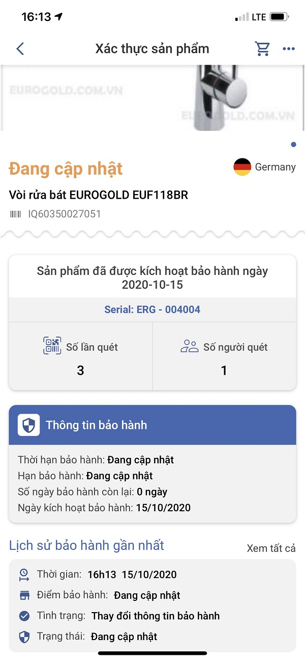kích hoạt bảo hành sản phẩm của Eurogold