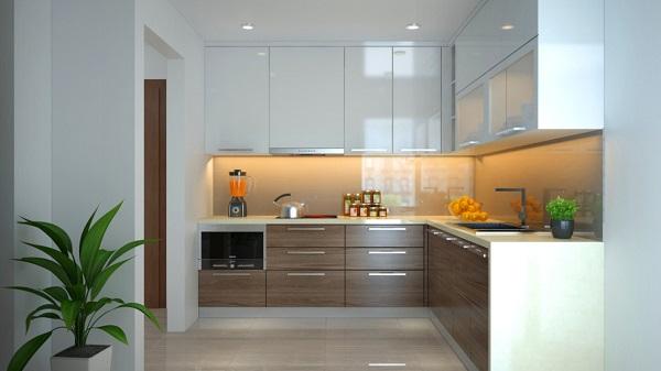 tủ bếp acrylic trắng và vân gỗ