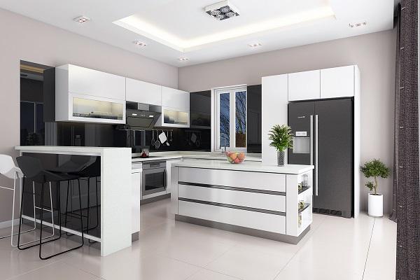 tủ bếp acrylic trắng đen
