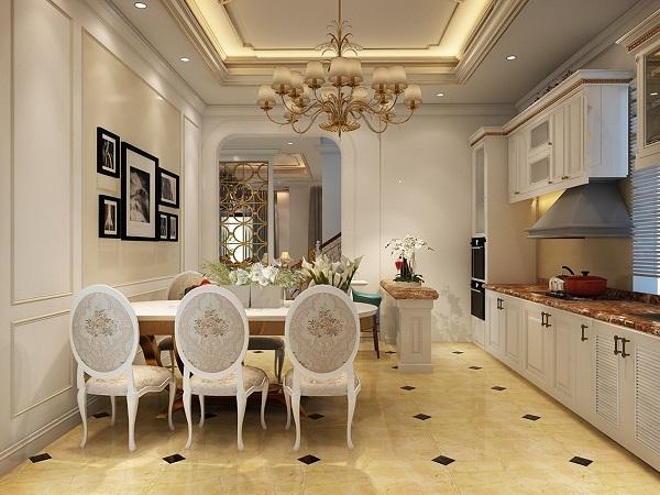 Phòng bếp được thiết kế theo phong cách tân cổ điển cho nhà biệt thự sang trọng