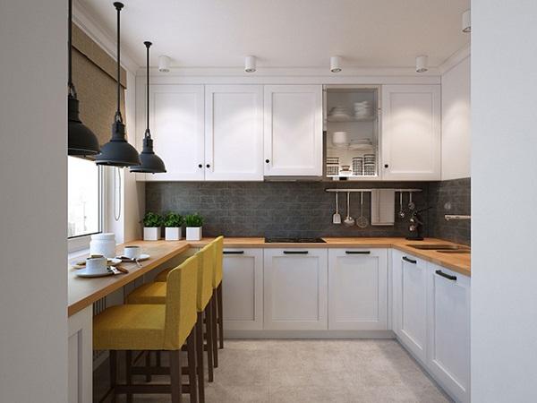 Phòng bếp nhỏ tuy nhiên được thiết kế rất tối ưu