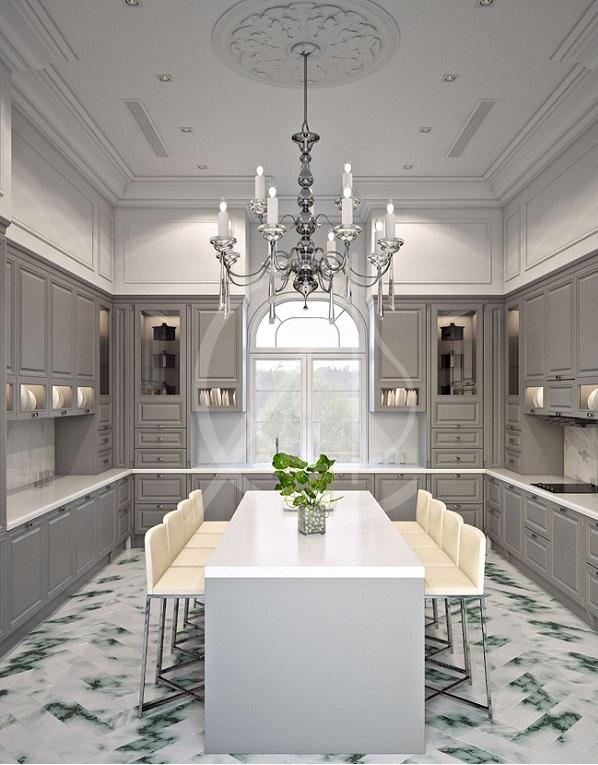 bếp thiết kế phong cách tân cổ điển