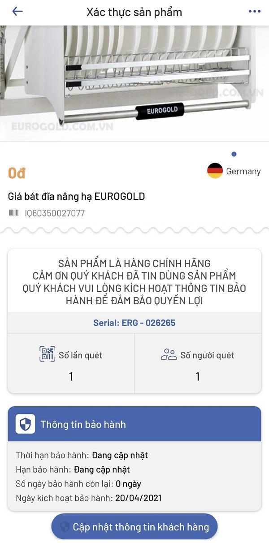 Kích hoạt bảo hành giá bát nâng hạ Eurogold