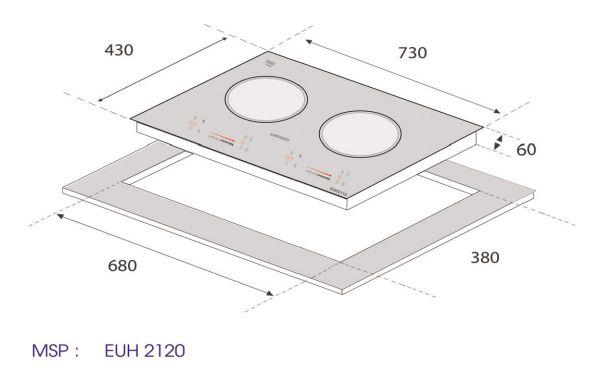 kích thước bếp từ EUH2120 Eurogold